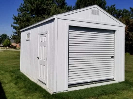 White Amish Garage with side door for a customer