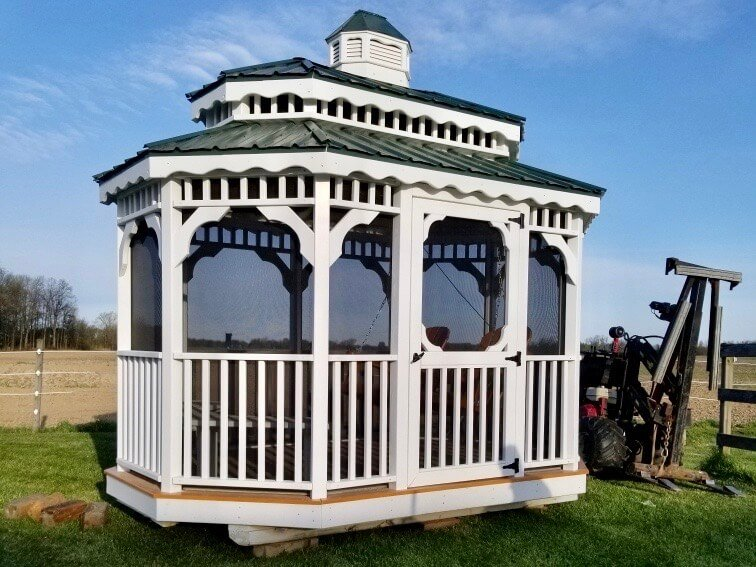 Amish Double Painted Roof Gazebo on Mule in delivery out in Onsted, Michigan