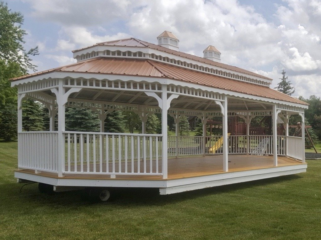Large White Double Painted Roof Gazebo on mule for customer delivery