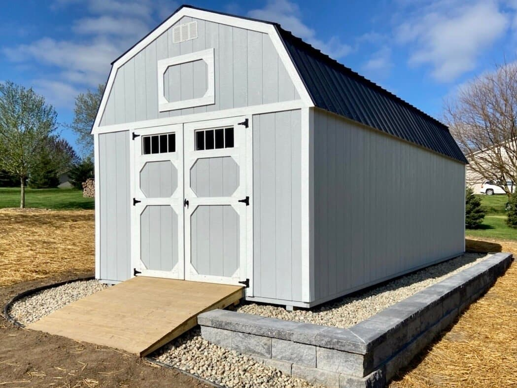 Lofted Amish Barn on gravel base that was build for a customer in Adrian, Michigan