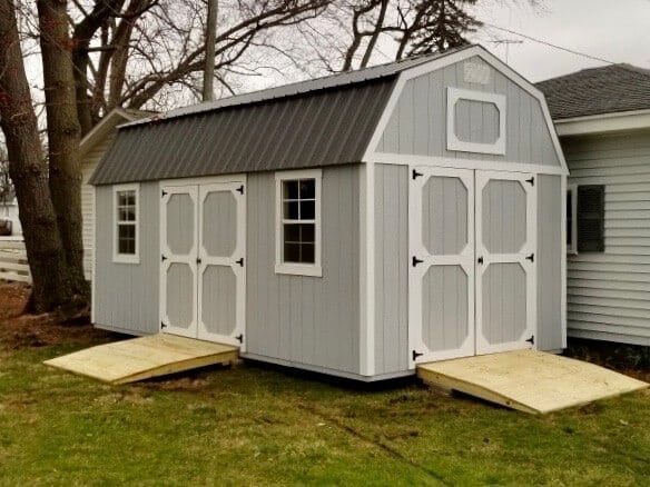 Amish Lofted Garden Shed with Two Sets of Barn Doors and Ramps for a Customer